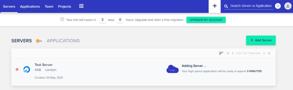 Cloudways add server