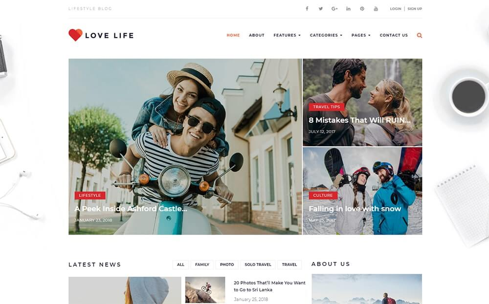 Love Life Responsive Personal Blog WordPress Theme