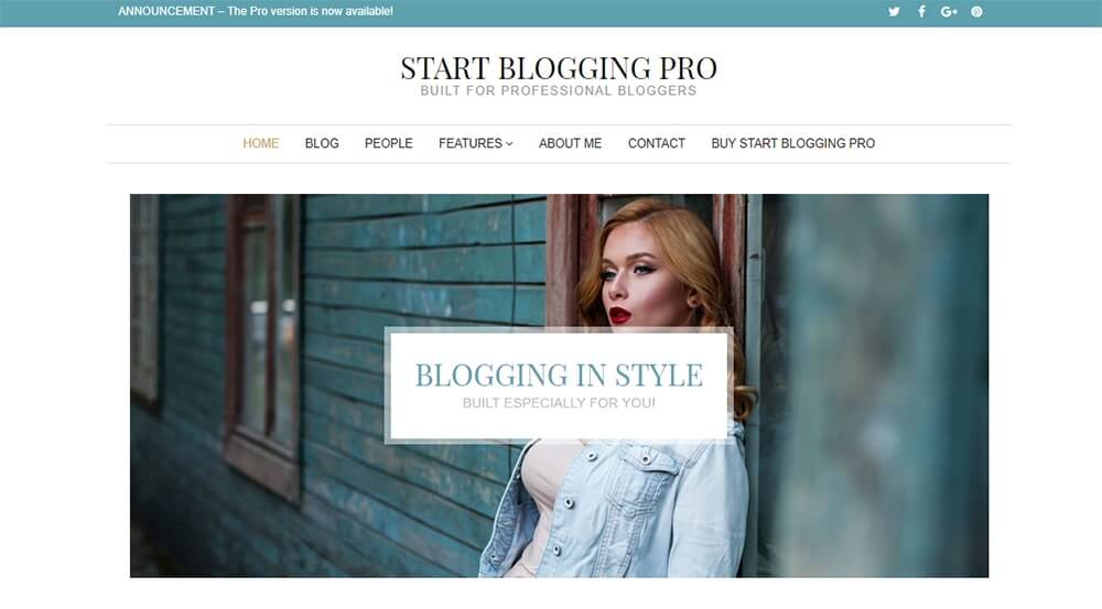 Start Blogging Pro WordPress Theme