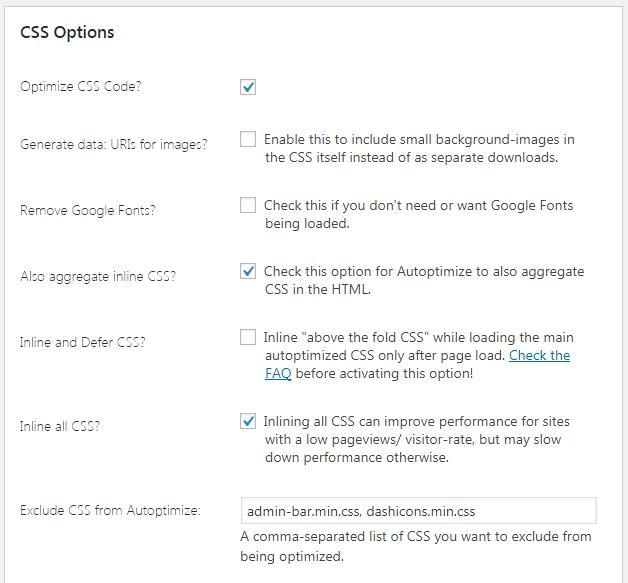 css options autoptimize