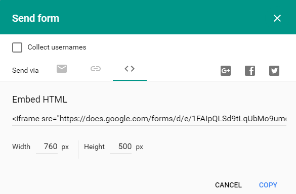 google form embed code