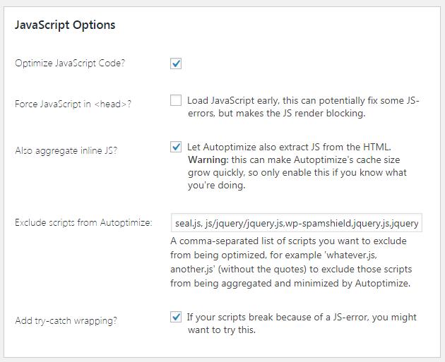 javascript options autoptimize
